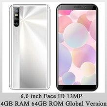 Global abierta 9i Android identificación facial Pantalla de 6,0 pulgadas teléfonos móviles 13MP HD Cámara 4G RAM 64G ROM teléfonos inteligentes teléfono MT6580 Wifi