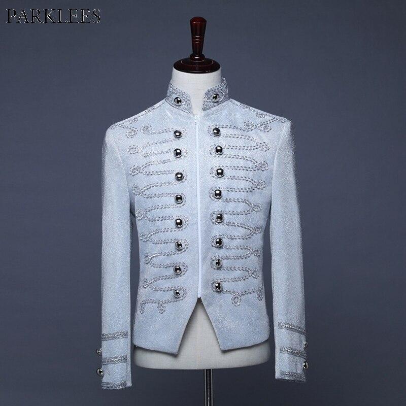 Silver Tuxedo Men Blazer British Palace Style Zipper Men Suit Jacket Military Blazer Mens Nightclub Stage Cosplay Men Blazers