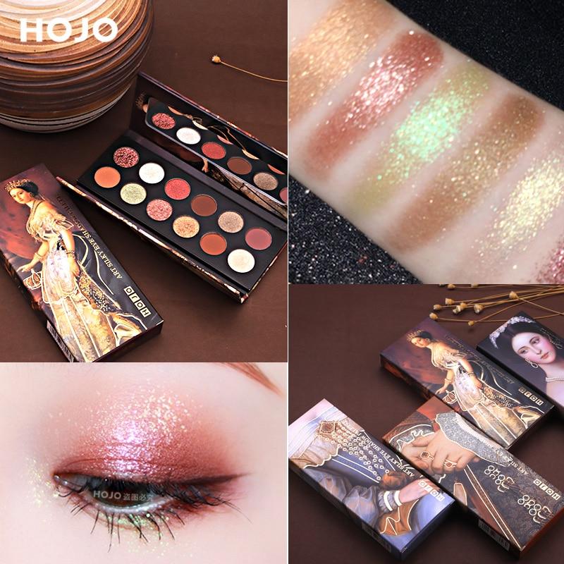 HOJO 12 Color Aristocratic Painting Eyeshadow Palette Shimmer Matte Pigmented Eye Shadow Powder Makeup Glitter Crystal Eyeshadow