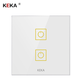 KEKA Wall Touch Sensor Switch 2 Gang 1/2/3 Way Touch Standard Light Switch RS-485 control switch Crystal Glass Panel 220-250V 100v 240v ac 2 gang 2 way switch rfid wireless 30m remote control touch screen light switch panel 2 wireless receivers