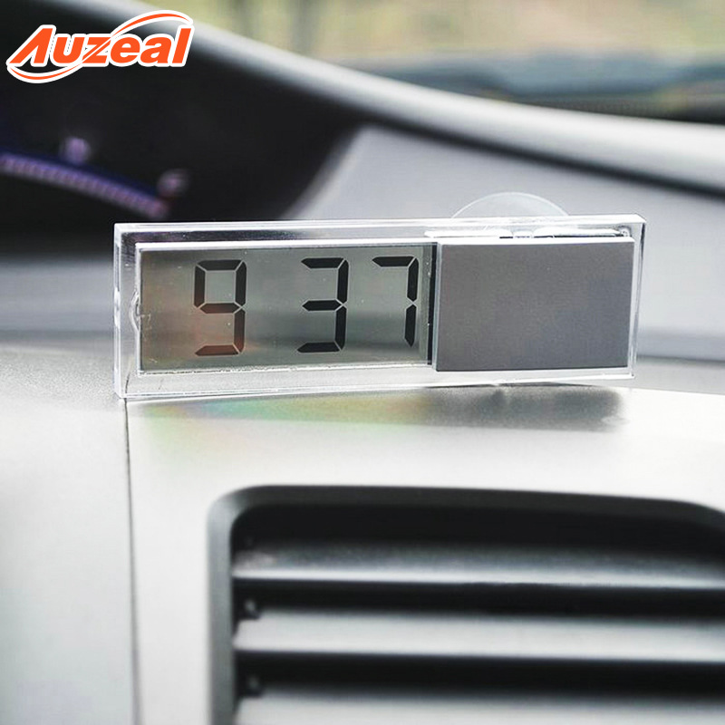 Car Thermometer Ornamental Glass Sucker Car Mounted Electronic Watch Multi-functional Automobile Instrument Panel Transparent Li