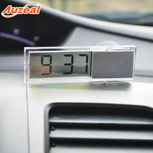 Car Thermometer Ornamental Glass Sucker Car Mounted Electronic Watch Multi-functional Automobile Instrument Panel Transparent Li(China)