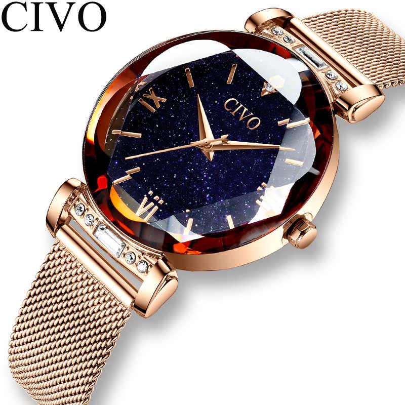 CIVO ファッション女性腕時計高級防水腕時計女性クリスタルクォーツ時計 2019 レディースギフト時計レロジオ Feminino