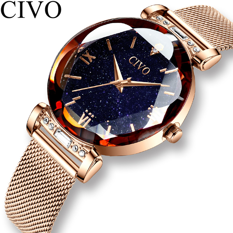 CIVO fashion women watch luxury waterproof wrist watches for women crystal quartz watch 2019 ladies gift clock Relogio Feminino