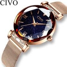 CIVO kobiety mody zegarek luksusowe wodoodporne zegarki dla kobiet kryształ kwarcowy zegarek 2019 panie zegar na prezent Relogio Feminino