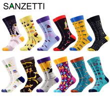 SANZETTI 2020 Brand New Happy Men Socks Bright Colorful High Quality Novelty Funny Pattern Socks Causal Gift Wedding Dress Socks