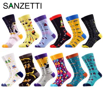 SANZETTI 2020 Brand New Happy Men skarpetki jasne kolorowe wysokiej jakości nowość zabawny wzór skarpetki przyczynowe prezent suknia ślubna skarpetki tanie i dobre opinie CN (pochodzenie) STANDARD Na co dzień NYLON spandex COTTON MIX-SC Załoga Skarpety men socks man socks cotton socks winter socks