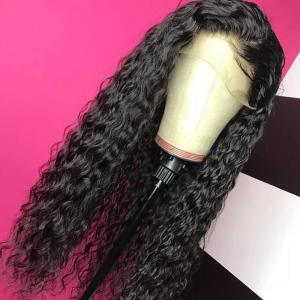 PAFF Long Lace front Synthetic Hair Wigs Soft Black Curly Wig 26 Inch Cosplay PrePlucked High Ponytail Heat Resistatn Fiber Wig(China)