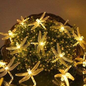 Christmas Solar Lights 20/30/50 LED Dragonfly Fairy String Solar/Battery Powered Led Light Garland for Garden Decor