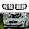 EIN Paar M Farbe Dual Lamellen Stil Front Niere Grill Grille Für BMW F10 F11 F18 5 Serie 2009-2016 Racing Grills Auto Zubehör