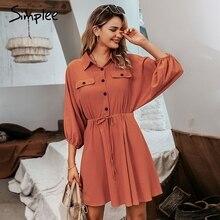 Simplee vestido de Camisa de lino Casual de manga larga para verano, traje Vintage de algodón con botones y cordones para mujer, 2019