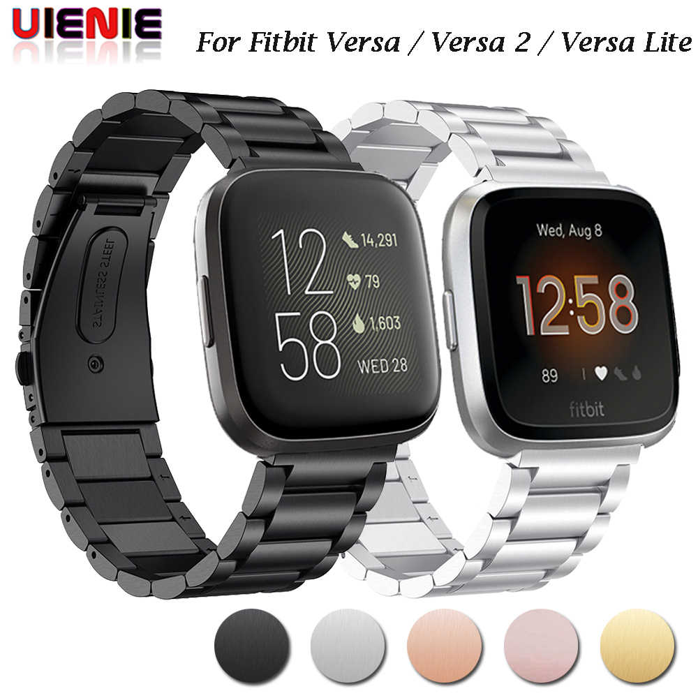 Para Fitbit Versa 2 /Versa Lite Smart Watch pulsera de acero inoxidable correa de Metal para Fitbit Versa Smart Watch Band