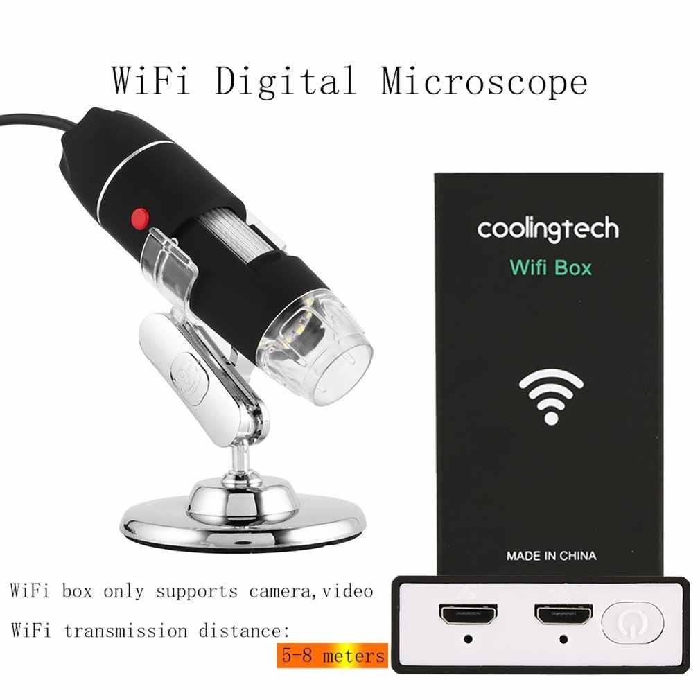 WIFI กล้องจุลทรรศน์ดิจิตอล 8 LED สอง USB กล้อง Endoscope กล้องจุลทรรศน์ 500X-1600X สเตอริโอแว่นขยายอิเล็กทรอนิกส์ Plug และ Play