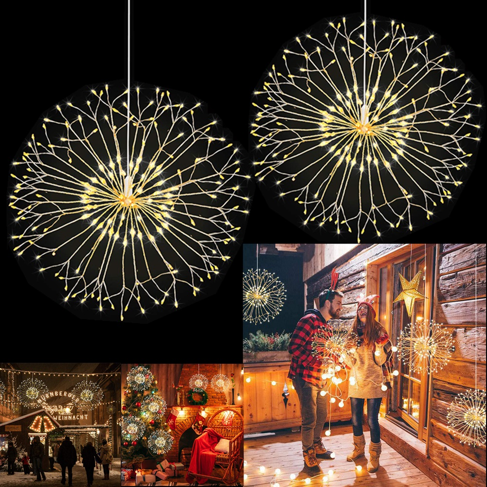 8 Modes Dandelion LED String Lamp Waterproof Dimmable Hanging Starburst Fairy Strip Light Party Home Decoration Remote Control