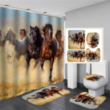 Horse Shower Curtain with Hooks Fabric Animal 3d Bathroom Shower Curtains Bathroom Curtain Hooks Waterproof Curtain or Mat peacock feather fabric shower curtain with hooks