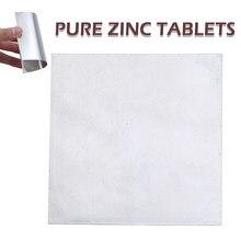 Placa De Folha De Zinco de alta Pureza 99.9% de Zinco Puro Para O Laboratório de Ciências 100mm x 100mm x 0.2mm