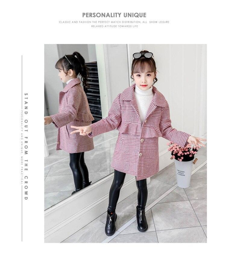 Стеганое шерстяное пальто для девочек; теплое пальто в клетку для девочек; модное длинное шерстяное пальто для девочек; стеганая шерстяная ветровка для девочек
