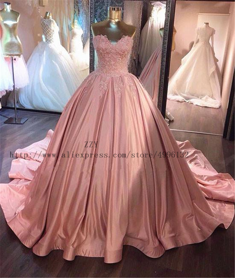 Lace Appliques Satin Lace-Up Ball Gown Quinceanera Dresses Backless Floor-Length Vestidos De 15 Anos Sweet 16 Dresses With Lace
