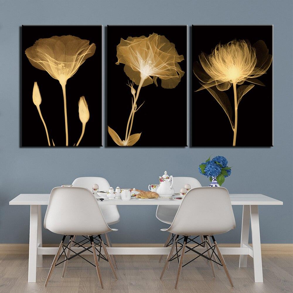 3 Панели плакаты живопись абстрактные черные белые цветы картины для спальни домашний декор, произведение искусства Печать холст стены иск