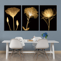 3 Panels Posters Painting Abstract Black White Flowers Pictures for Bedroom Home Decor Artwork Printing Canvas Wall Art