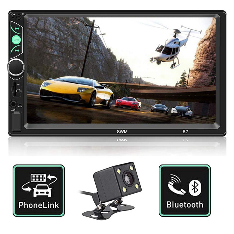 <font><b>7</b></font> Inch Double Din Press Screen Car Stereo Upgrade the Latest Version Mp5/4/<font><b>3</b></font> Player Fm Radio Video Support Backup Rear-View Came image
