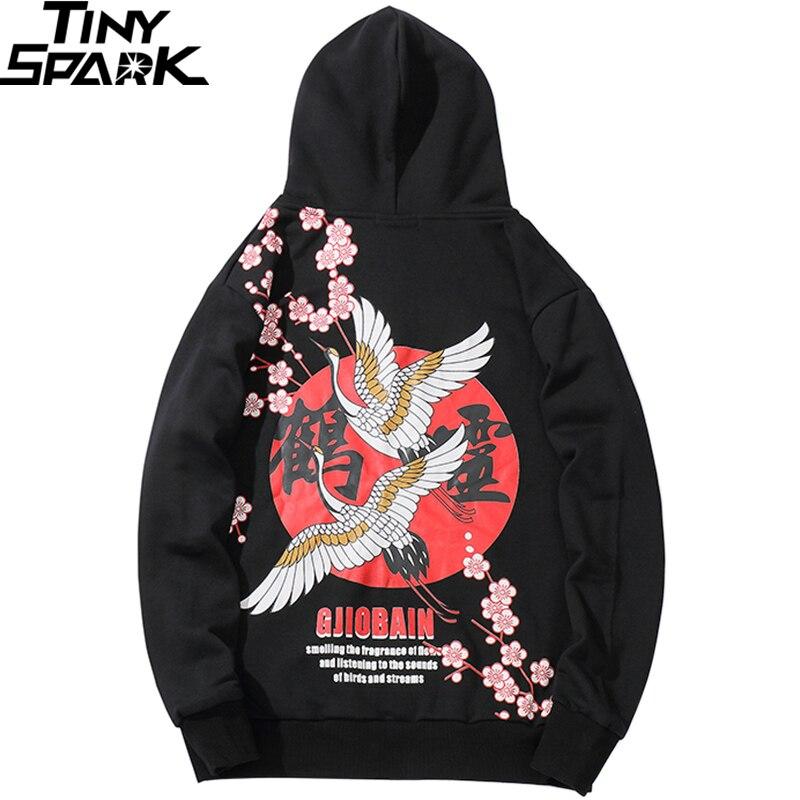2019 Hoodies Sweatshirt Hip Hop Mens Chinese Kanji Harajuku Streetwear Hoodie Crane Floral Print Autumn Hooded Pullover Loose