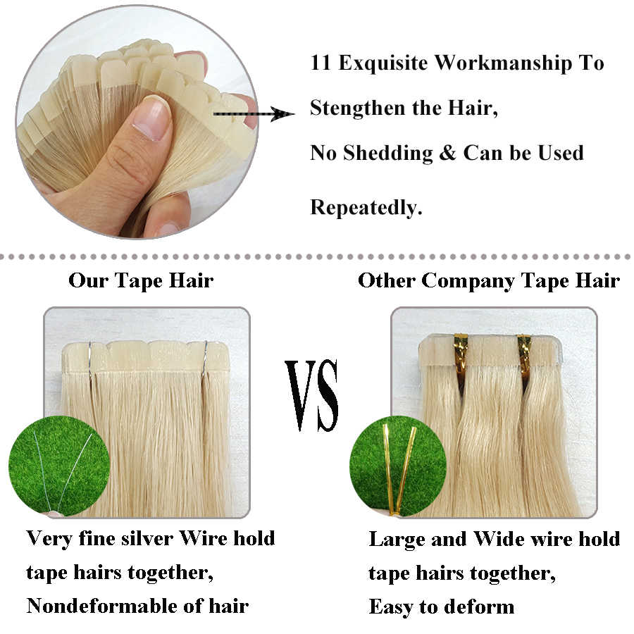 Showcoco Onzichtbare Tape Extensions Zomer Virgin Remy Tape In Human Hair Extension Eiwit 2-3 Jaar Een Donor Cuticula tape Ins