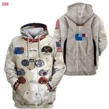 """Семья подходящая друг к другу одежда 3D Армстронга пространство люкс для всей семьи: папы, толстовки """"для мам"""" Толстовка футболки Повседневное астронавт скафандр"""