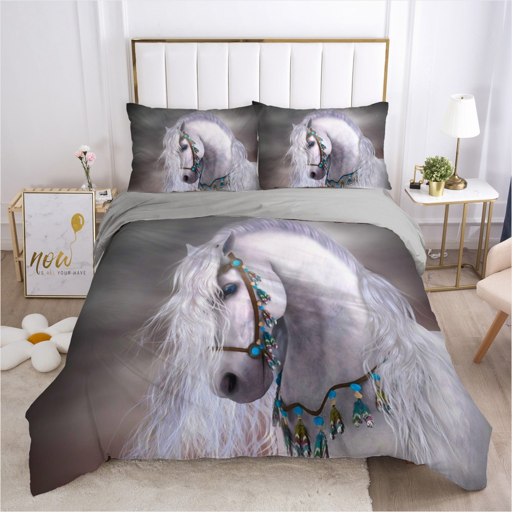 Wild horse animal pattern 3D cartoon digital printing 2/3pc quilt cover pillowcase double bed set sheet cover quilt bedding set