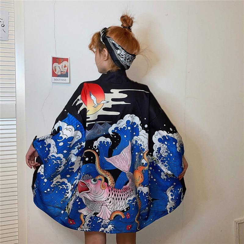 Japanese Kimono Harajuku Cardigan Haori Streetwear Loose Samurai Costume Suncreen Clothing Kimono Couple Jacket Shirt Yukata