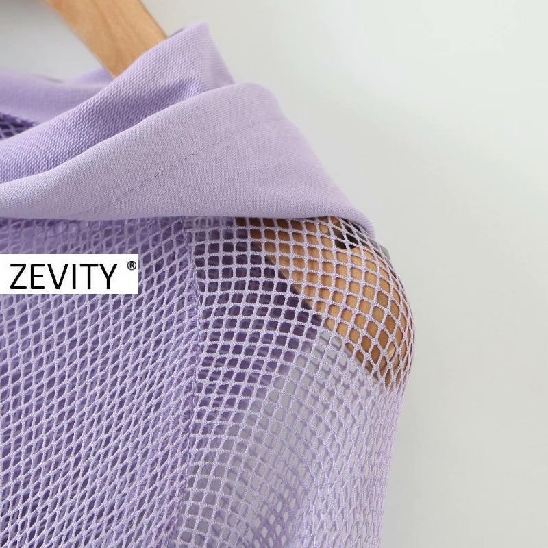 Zevity New Women fashion mesh stitching casual short hooded sweatshirts ladies letters print leisure crop hoodies chic tops S350 6
