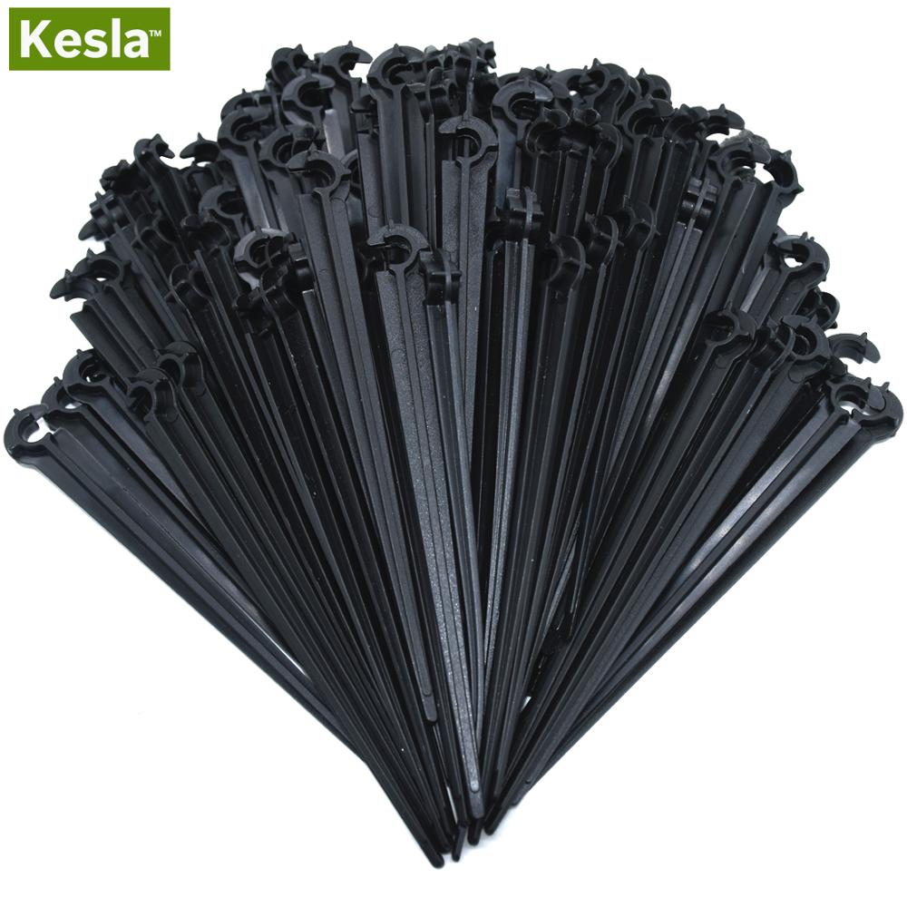 50-200PCS Durable 1/4'' C-type Hook Fixed Stem Support Holder Stakes For 4/7mm Hose Flowerpot Drip Irrigation Fitting Greenhouse