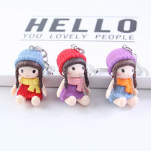 Fashion Lovely Cute Scarf Hat Doll Keychain Bag Pendant Keychains Bag Charm Accessories Men Women Charms Couple Gift Jewelry(China)
