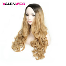 Valenwigs Long Hair Wavy 28 inch 70cm High Density Temperature Synthetic Wig For Black White Women Glueless Wavy Cosplay Wig long center parting corn hot wavy colormix synthetic wig