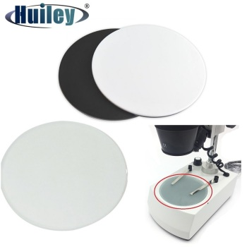 Stereo Microscope Working Stage Transparent Translucent Round Specimen Plate Frosted Glass White Black Plastic Work Board microscope slides 12 children s standard microscope special plastic bio slice specimen animal insect plant flower sample slice