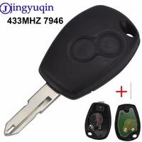 Jingyuqin Chave Do Carro Remoto 433MHz ASK PCF7946 Transponder Chip Para Renault Traffic Master Vivaro Movano 2 Botão Ne73 Sem Cortes lâmina