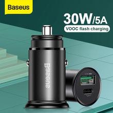 Baseus 30w pps carregador de carro rápido 4a vooc flash de carregamento para oppo r17 pro reno findx um mais 7pro 6 6t qc3.0 carregador de carro