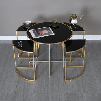 Nordic luxury tempered glass round center coffee table with 4 pieces side table combination home  apartment living room table stainless steel sofa side table corner table tempered glass small apartment living room round coffee table end table