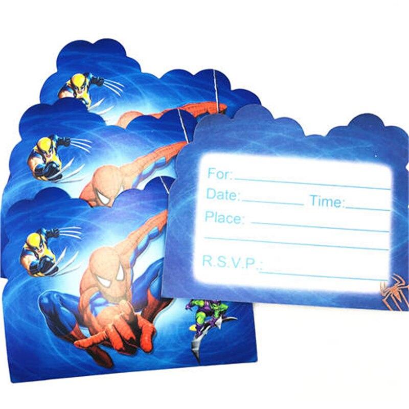 Us 05 33 Off10pcs Spiderman Invitation Cards For Boy Kids Birthday Decoration Spiderman Party Supplies Baby Shower Anniversaire Spider Man In