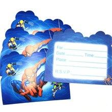 10pcs Spiderman Invitation Cards For Boy Kids Birthday Decoration Party Supplies Baby Shower Anniversaire Spider-man
