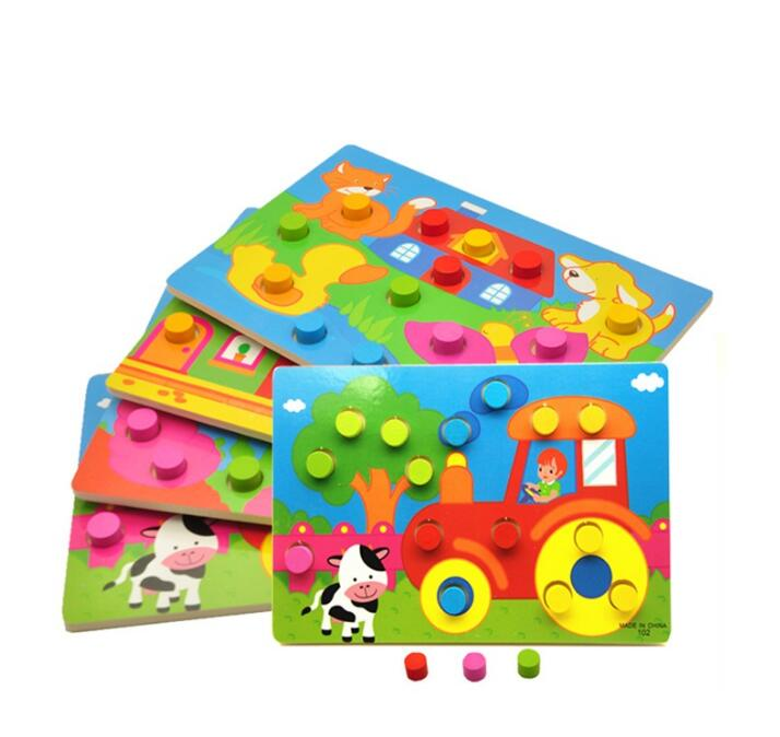Kid Early Educational Toys Baby Hand Grasp Wooden Puzzle Toy Shape Color Animal Learning Education Child Wood Toy GYH 6
