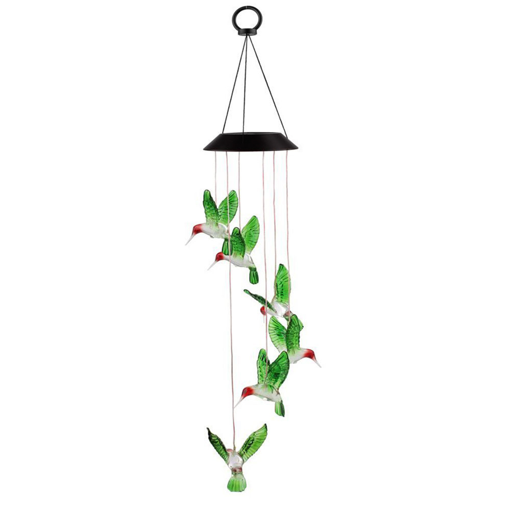Color Changing Home Decor Waterproof Spiral Solar Powered Hanging Garden Led Outdoor Colorful Wind Chime Light