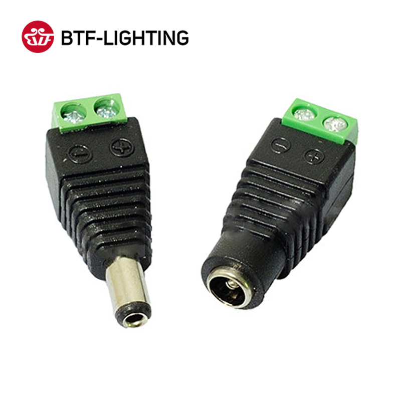 Female Male DC Connector 5.5*2.1mm Power Jack Adapter Plug For 3528/5050/5730/5630/3014 Single Color Led Strip Light CCTV Camera