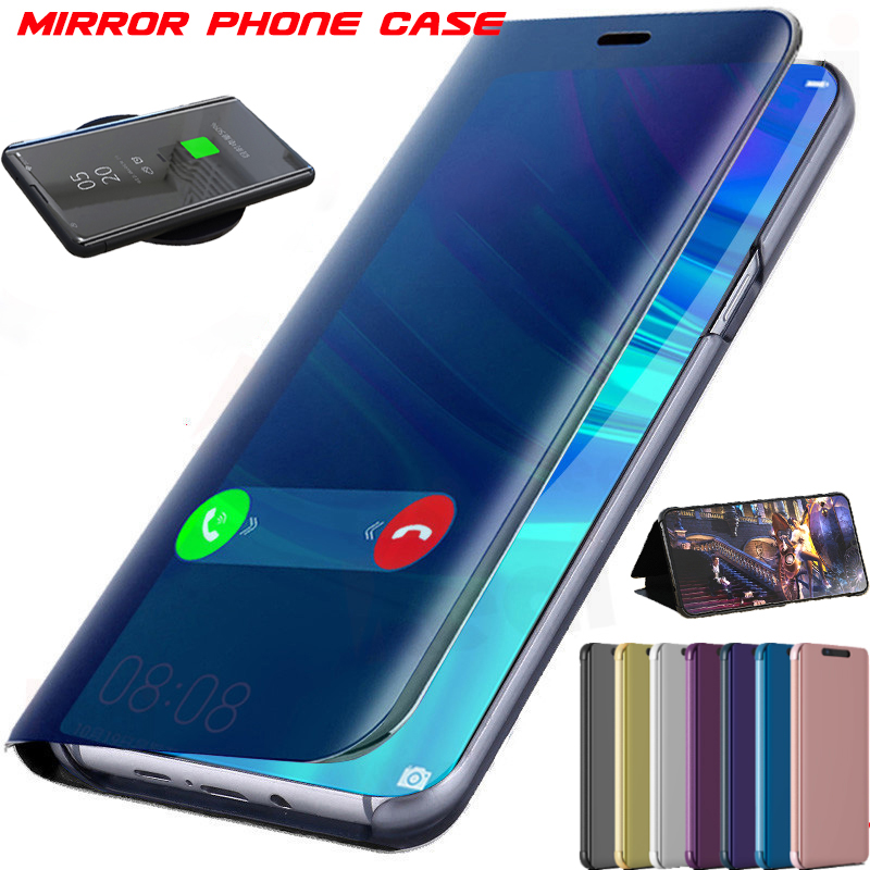 View Smart Mirror <font><b>Flip</b></font> <font><b>Case</b></font> For Huawei Honor 20 9X Pro 20 20i 10i 9i V10 Play 9X 8C 8A 8S View 20 <font><b>Note</b></font> 10 Mate 8 <font><b>9</b></font> P9 Plus Cover image