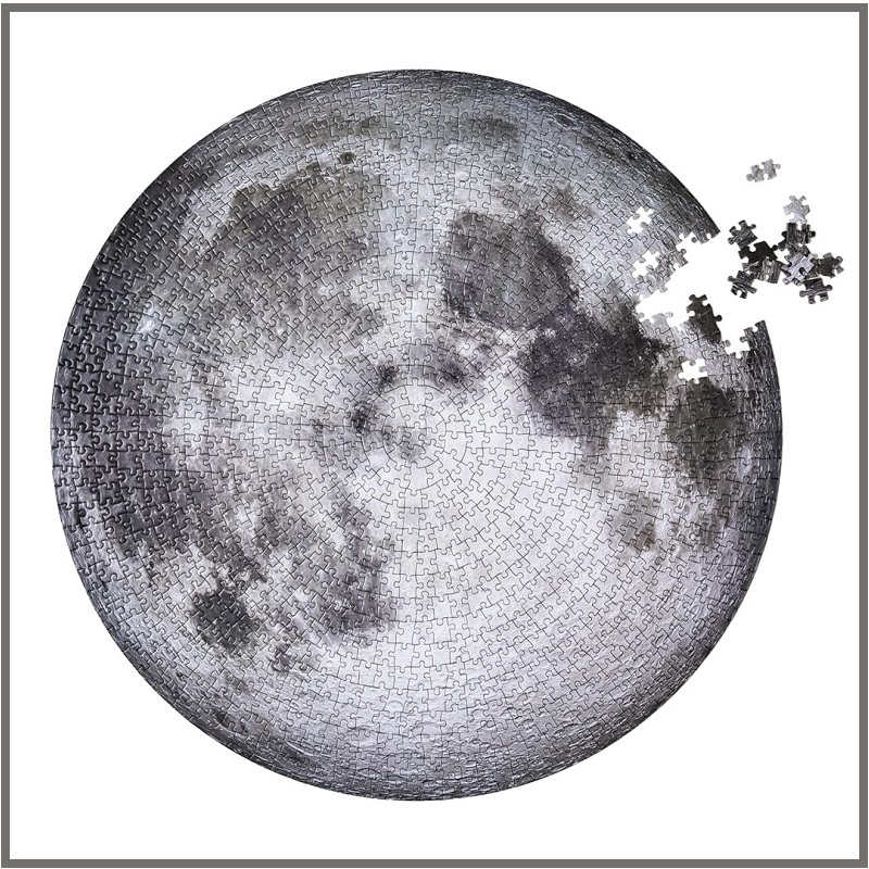 1000 Pieces Nature Star FULL MOON / EARTH Round Puzzle Educational Game Education Toys For Adult Kids Child Boy Gift With Box