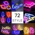 Großhandel 72 Stile Led Neon Licht Bunte Regenbogen Neon Zeichen für Zimmer Home Party Hochzeit Dekoration Weihnachten Geschenk Neon Lampe