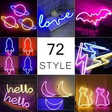 Atacado 72 estilos de luz de néon led colorido arco-íris sinal de néon para o quarto festa em casa decoração de casamento presente de natal lâmpada de néon