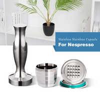 4 Teil/satz Nespresso Edelstahl Nachfüllbare Kaffee Kapsel Kaffee Tamper Reusable Kaffee Pod Business Geburtstag Coffeeware Geschenk