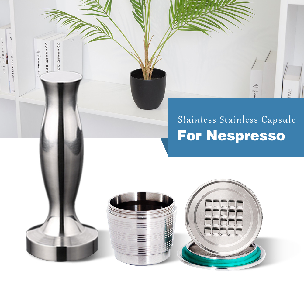 4PC/Set Nespresso Stainless Steel Refillable Coffee Capsule Coffee Tamper Reusable Coffee Pod Business Birthday Coffeeware Gift