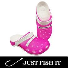 Adidase JUST FISH IT Women Sandals Crocks Hole Shoes Beach Clogs For Women EVA Unisex Garden Shoes C